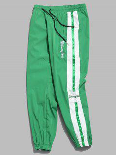 Embroidery Letter Striped Jogger Pants - Blue Green M