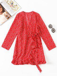 V Neck Polka Dot Wrap Dress - Red M