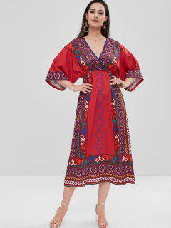 Wide Sleeve Tribal Print Surplice Dress - Red L