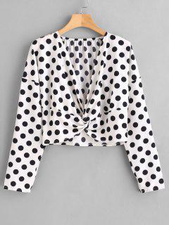 Blusa Convertible Con Cuello Alto Y Lunares - Blanco