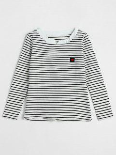 Heart Label Long Sleeve Stripe T-shirt - White M