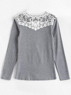 Long Sleeve Crochet Lace Yoke Tee - Gray Xl