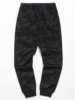 Camo Elastic Waist Jogger Pants - Black L
