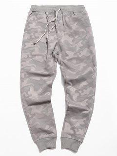 Pantalon De Jogging Camouflage Taille à Cordon - Gris 3xl