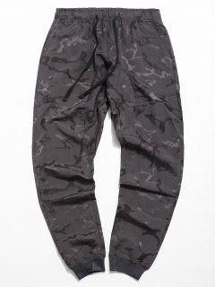 Drawstring Skull Print Jogger Pants - Gray Cloud Xl