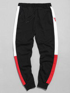 Color Block Applique Jogger Pants - Black Xl