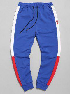 Color Block Applique Jogger Pants - Blue M