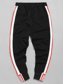 Pantalon De Jogging Taille Elastique à Rayure Latérale - Noir L