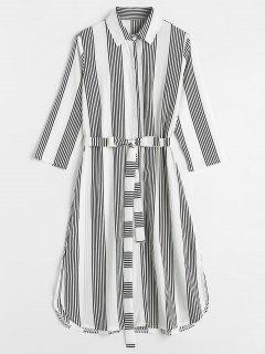Vestido De Camisa De Hendidura A Rayas - Blanco L
