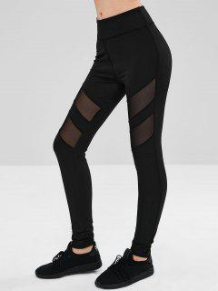Sheer Mesh Panel Leggings - Black L