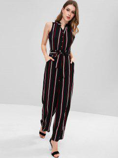 Striped Jumpsuit With Belt - Black L