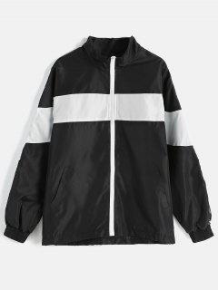 Color Block Loose Fitting Jacket - Black Xl