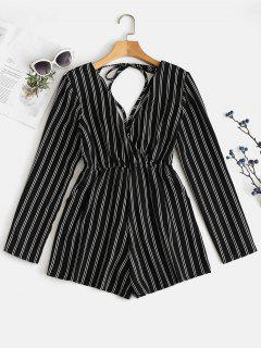 Tied Striped Low Cut Romper - Black L