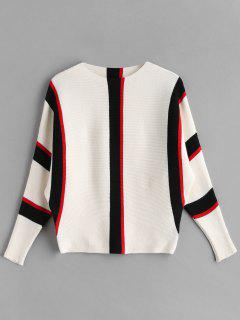 Striped Batwing Knit Sweater - Multi