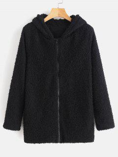 Hooded Zipper Fluffy Coat - Black L