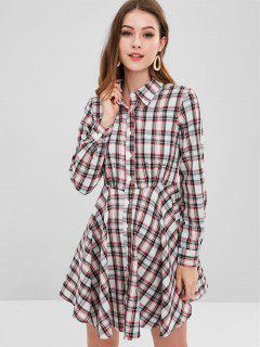 ZAFUL Plaid Flared Shirt Dress - Multi M