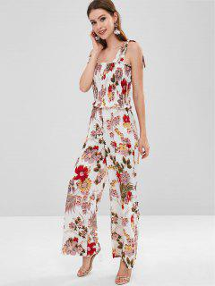 ZAFUL Shirred Tie Strap Jumpsuit - Multi M