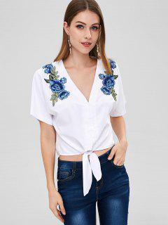 ZAFUL Tie Waist Floral Patch Blouse - White L