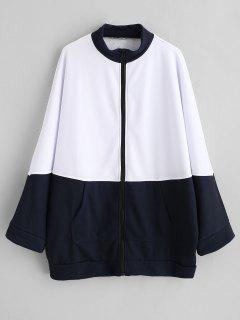 Oversized Two Tone Zip Up Sweatshirt - White