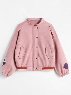 Hidden Zipper Stand Up Collar Jacket - Pink L