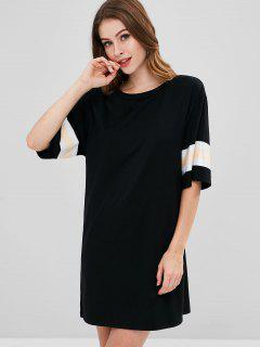 ZAFUL Striped Trim T-shirt Dress - Black M