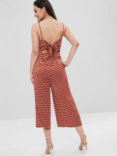 ZAFUL Knot Polka Dot Wide Leg Jumpsuit - Chocolate S