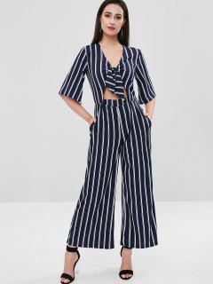 Tie Front Stripes Wide Leg Jumpsuit - Midnight Blue S