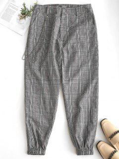 Chain Embellished Plaid Jogger Pants - Black S