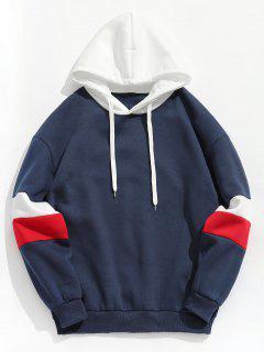 Contrast Stripe Fleece Hoodie - Deep Blue M