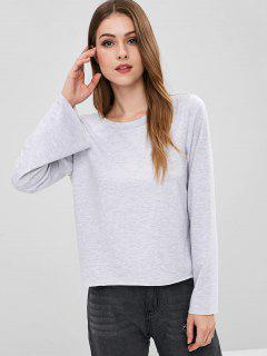 ZAFUL Bell Sleeve Open Back T-shirt - Light Gray M