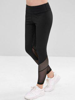 ZAFUL Perforated Mesh Panel Sports Leggings - Black L