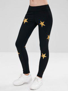 ZAFUL Star Print Skinny Sports Leggings - Black L