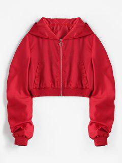 Zip Front Crop Hooded Jacket - Red S