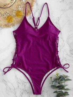 Lace-up High Cut Swimsuit - Plum Velvet L