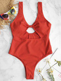 ZAFUL Ribbed Knotted Cutout Swimsuit - Fire Engine Red S