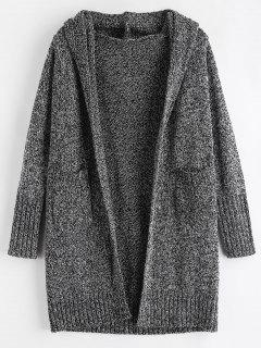 Hooded Pockets Open Front Cardigan - Black