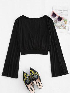 Bell Sleeve Crossover Open Back Tee - Black S