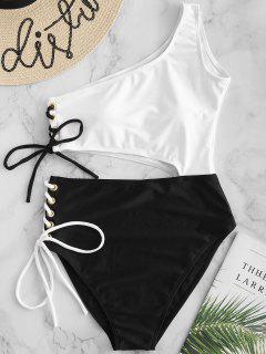ZAFUL Lace-up Cutout One Shoulder Swimsuit - Black L