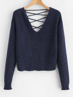 V Back Lace Up Sweater - Deep Blue S