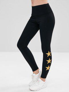 ZAFUL Star High Waisted Workout Leggings - Black L