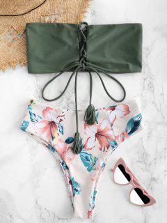 ZAFUL Flower Lace Up Bralette Bikini Set - Camouflage Green M