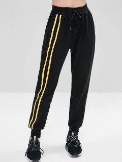 Drawstring Stripes Trim Pants - Black M
