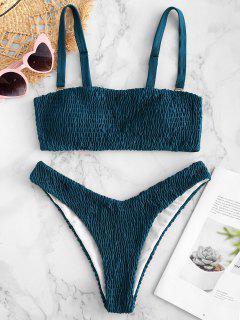 ZAFUL Smocked Bandeau Bikini Set - Peacock Blue M