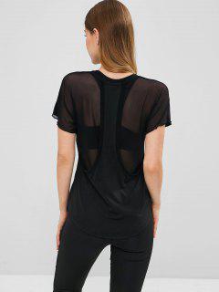 T-shirt De Sport Panneau En Maille Au Dos Transparent - Noir L