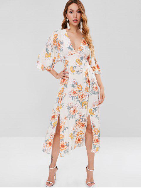 Vestido escotado floral con escote partido - Multicolor XL Mobile