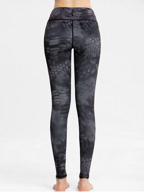 new High Waisted Printed Workout Leggings - GRAY L Mobile