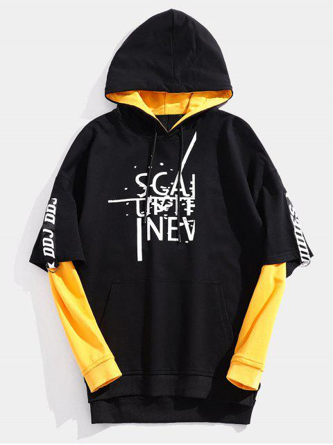 online Streetwear Fake Two Piece Letter Hoodie - BLACK L Mobile