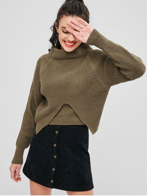 sale Chunky Slit Sweater - MOCCASIN ONE SIZE Mobile