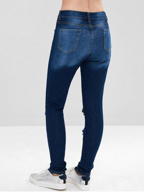 Jeans desgastados con lavado oscuro - Azul Oscuro de Denim M Mobile