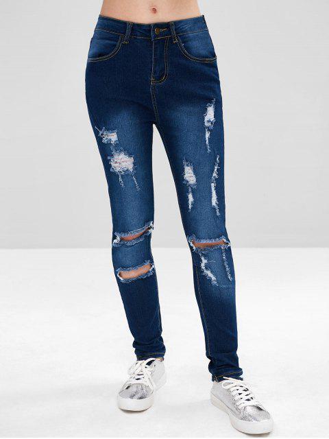 affordable Dark Wash Distressed Jeans - DENIM DARK BLUE L Mobile